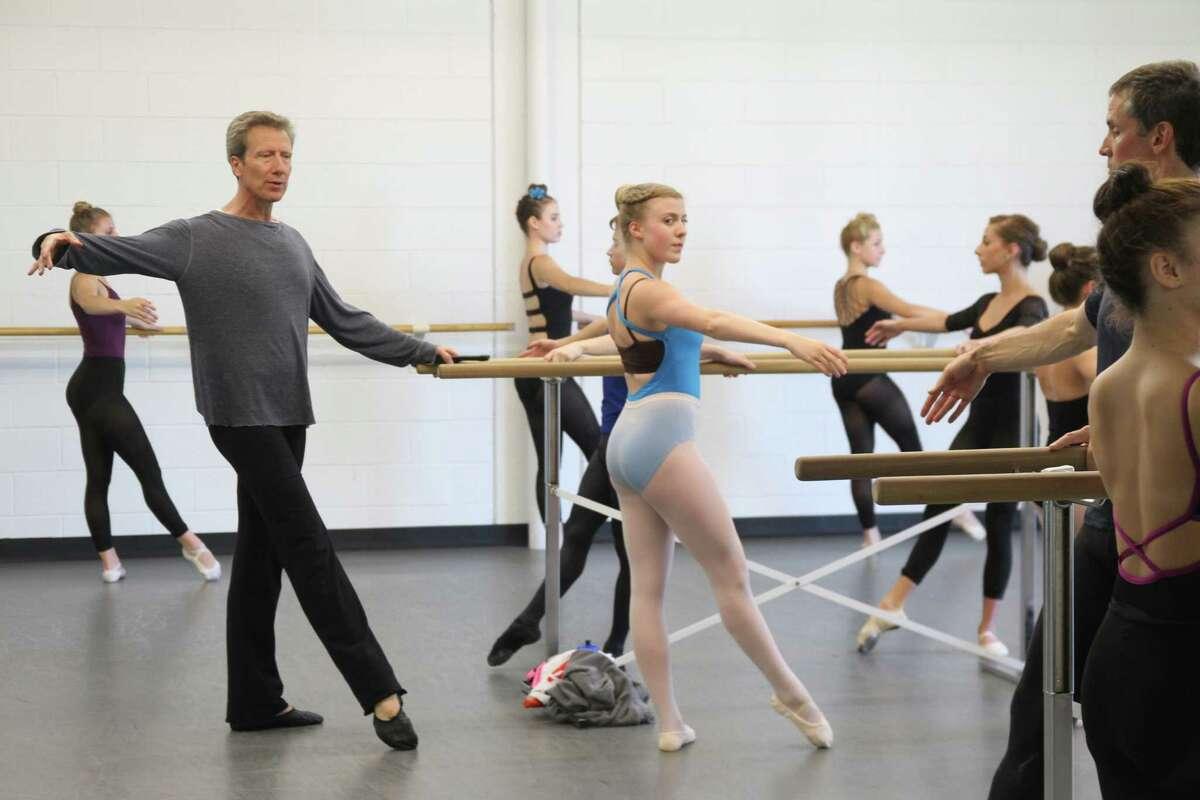 Guest instructor Sven Toorvald teaches an adult ballet dance class at the Houston Metropolitan Dance Center.