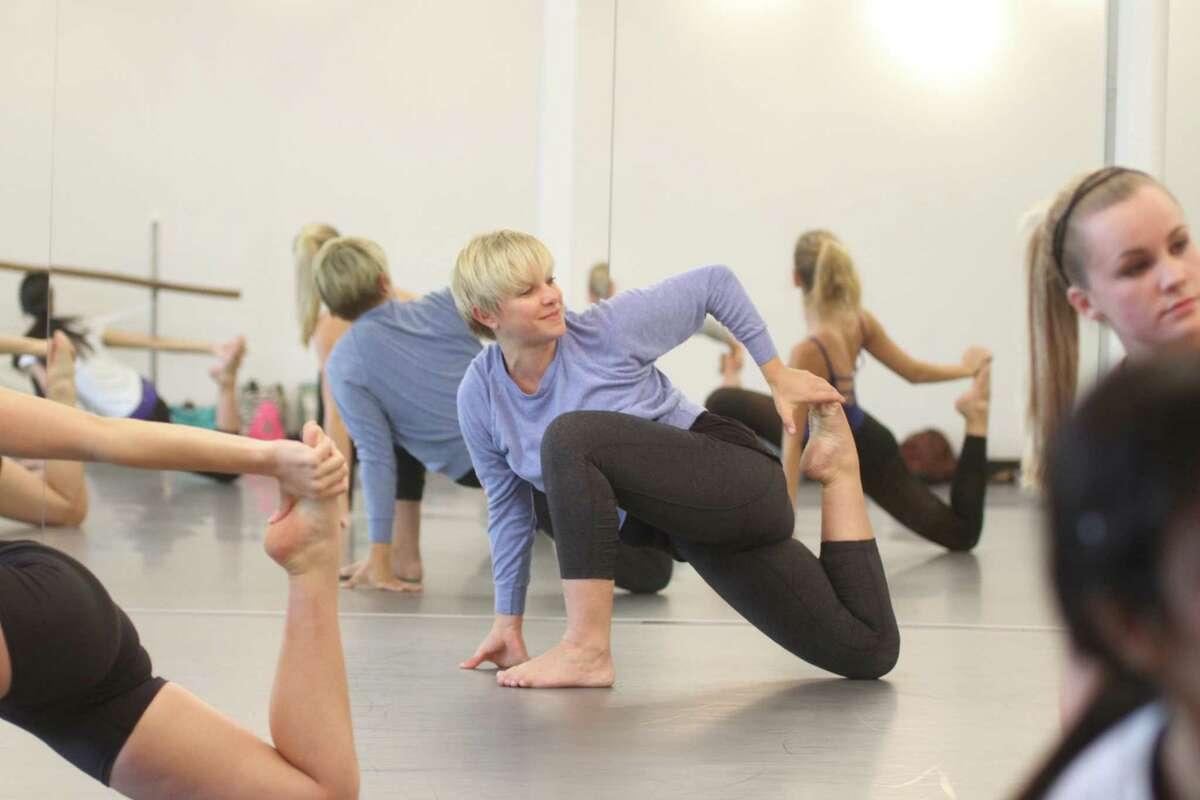 Marlana Doyle, artistic director for Houston Metropolitan Dance Center, teaches adult contemporary jazz dance class.