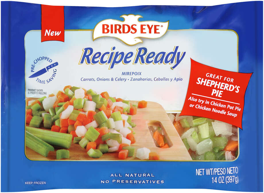 Birds Eye has put some thought into lunch and dinnerwith a new line of frozen vegetables aimed at quick and tasty meals. Birds Eye Recipe Ready frozen vegetables are ready to go into stir-frys, fajitas, tacos, pasta, and chicken and beef entrees. There are 20 varieties in the line which include stew blend (carrots, onions, potatoes and celery), mirepoix (carrots, onions and celery), primavera (red peppers, asparagus, peas and julienne carrots), Southwest blend (corn, black beans, poblano peppers, red peppers and onions), and broccoli stir fry (broccoli, carrots, onions, red peppers, water chestnuts, mushrooms and celery). If you ever needed just a bit of sofrito for chicken and rice, or mixed mushrooms for a pasta or some peppers, onions and mushrooms for a veggie, pizza, Birds Eye has thought to include them in the new line priced between $1.59 and $2.59. Photo: Birds Eye / Birds Eye