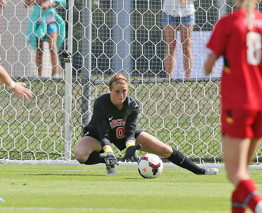 Former Johnson Jaguar Morgan Stearns is now the starting goalkeeper for the University of Virginia. She has nine starts, 18 saves and has allowed four goals in 753 minutes so far this season. Photo: Courtesy Photo