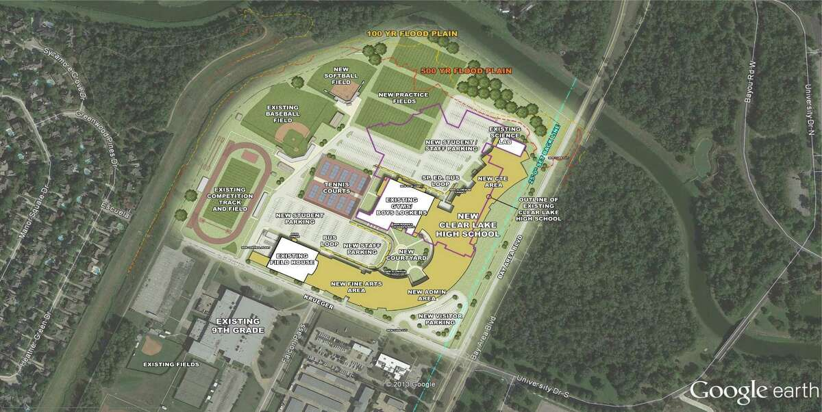 The conceptual site plan shows where the new school will be in relation to other facilities in the Clear Creek Independent School District.