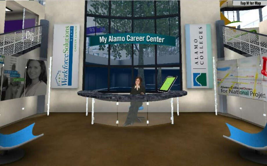 "An illustration shows a ""customer service representative"" ready to aid visitors to the Alamo Colleges' new virtual help desk and career center, a joint venture with Workforce Alamo Solutions. Photo: Courtesy Illustration"