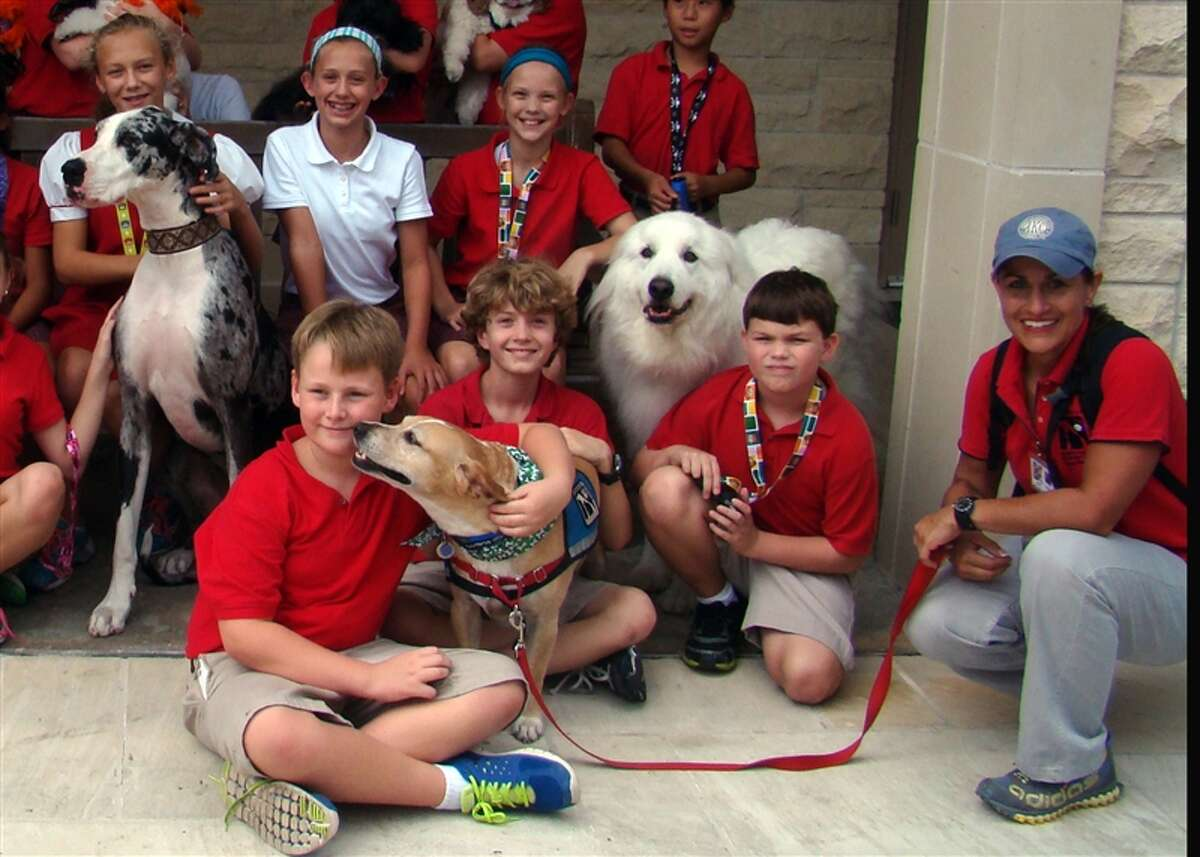 Faithful Paws pet therapy dogs recently visited Mrs. Woods' art class at St. John's School.
