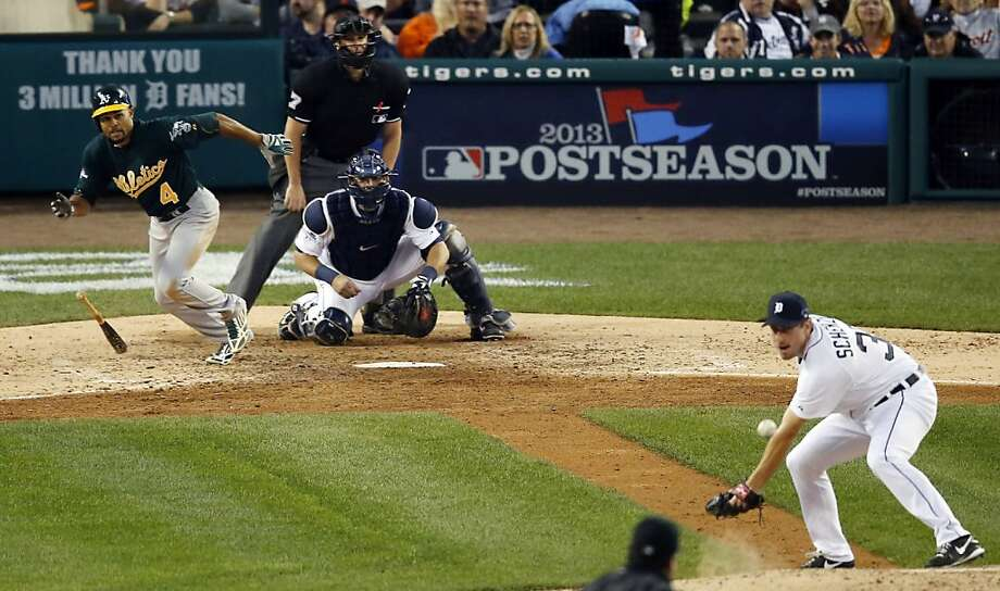 Coco Crisp singles past pitcher Max Scherzer for an RBI single and 4-3 lead in the seventh inning. Photo: Charles Rex Arbogast, Associated Press