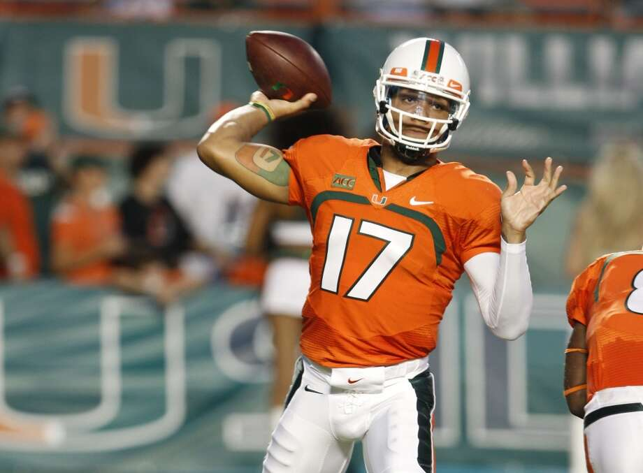 7. Stephen Morris, 6-2, 218, Sr., Miami   If he continues to develop the way he has been, it'll be hard to find a weakness.  2013 stats so far: 950 yards, 9 touchdowns, 4 interceptions, 61.7 completion percentage Photo: Lynne Sladky, Associated Press