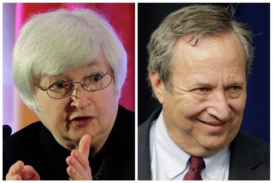 This photo combo shows Fed Vice Chair Janet Yellen, left, and former Treasury Secretary Lawrence Summers. Summers is the White House insider with a direct line to President Barack Obama. Yellen is the Federal Reserve veteran with a long list of congressional patrons. The two Ivy League trained economists have emerged as leading contenders to replace Ben Bernanke as chairman of the Fed, the nation's central bank. Obama could announce his nominee in the coming weeks. (AP Photo/Eugene Hoshiko, J. Scott Applewhite) ORG XMIT: WX104 Photo: Eugene Hoshiko And J. Scott Applewhite / AP