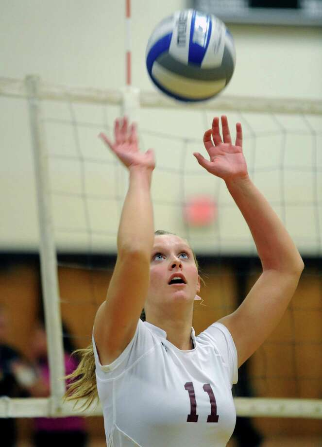 Burnt Hills junior setter Jessica Dillon during their high school girl's volleyball game against Shenendehowa on Tuesday Oct. 8, 2013 in Clifton Park, N.Y. (Michael P. Farrell/Times Union) Photo: Michael P. Farrell / 00024139A