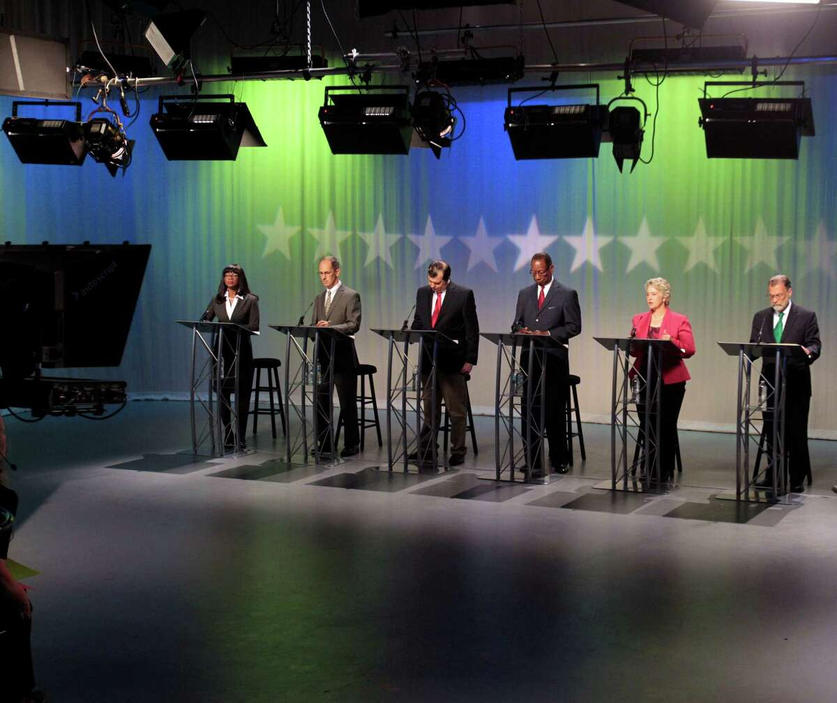 Mayoral candidates Keryl Burgess Douglas, left, Michael Fitzsimmons, Eric Dick, Ben Hall, Mayor Annise Parker and Don Cook faced off Tuesday at Houston PBS. studios.
