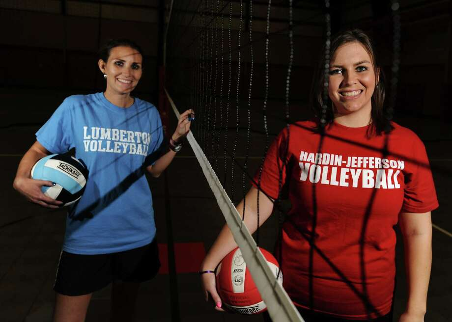 Sister by blood and on the court, Megan O'Quin , left, and Miranda Flowers are both head coaches for successful area volleyball teams. Flowers is the coach at Hardin Jefferson High School and O'Quin at Lumberton High School. Photo taken Monday, October 07, 2013 Guiseppe Barranco/The Enterprise Photo: Guiseppe Barranco, Photo Editor