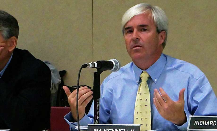 Town Plan and Zoning Commission member James Kennelly speaks during Tuesday meeting as the panel voted unanimously to reject two applications to open two medical marijuana dispensaries on the Post Road.  FAIRFIELD CITIZEN, CT 10/8/13 Photo: Genevieve Reilly / Fairfield Citizen