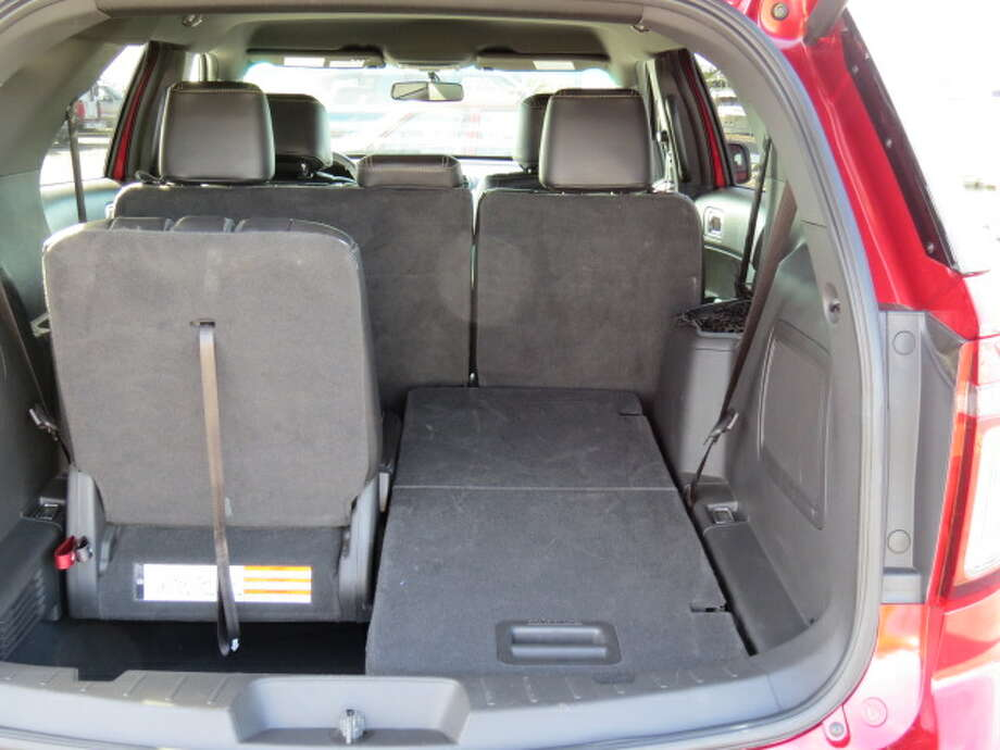 With that third row seat down, the Explorer has about 43 cubic feet of cargo capacity behind the second row of seats.
