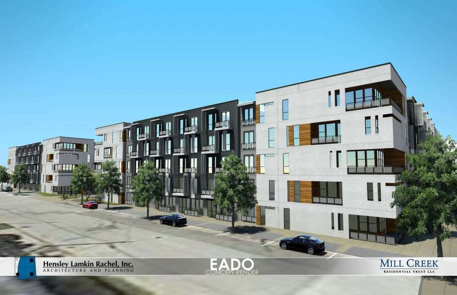 Rendering of the Mill Creek apartment project planned for Texas and Dowling. The 315-unit complex will be the first high-density project for the area in the last decade. Photo: Mill Creek