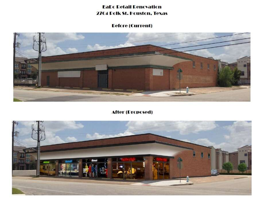 Rendering of the planned renovation to the site on the 2700 block of Polk. Lewis Property Company plans to renovate the site for retail. Photo: Lewis Property Company