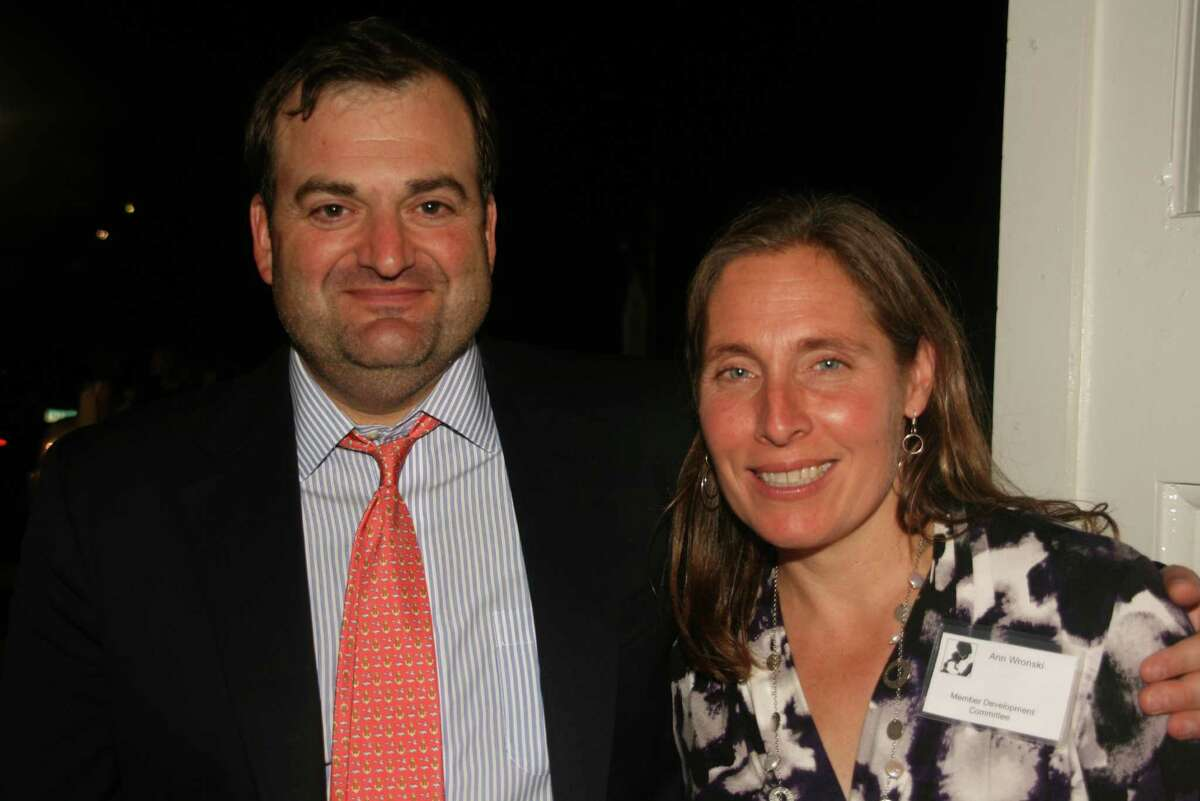 Organizers Steve Wronski, Board Member, Thorpe Family Residence and Ann Wronski, Member of the Development Committee, Thorpe Family Residence at the 25th anniversary gala at the New Canaan Carriage Barn. Oct. 5, 2013, New Canaan, Conn.