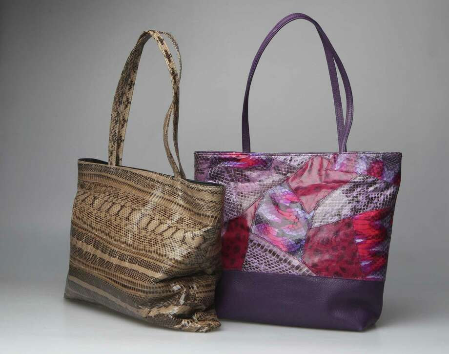 Carlos Falchi is known for working with exquisite skins and vibrant color, as seen in the multipurpose tote, $895, and neutral snakeskin bag, $995. Photo: Courtesy Photos
