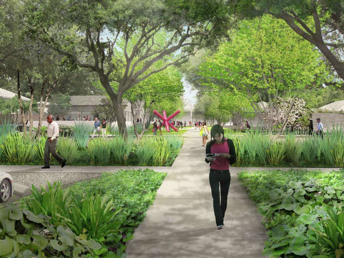 On Oct. 9, 2013, the Menil Collection unveiled the vision for how it will welcome visitors into its 30-acre campus in the heart of Houston, with shaded walkways and lush beds of indigenous plants leading past a new caf toward the renowned main museum building. The design the first to be revealed from the distinguished firm of Michael Van Valkenburgh Associates shows how the Menil will transform what is now the asphalt expanse of a parking lot into a campus gateway that begins at West Alabama Street. Incorporated into the entry sequence as an integral part of the Menil s vision will be a caf building, created as a meeting place between the campus and the Houston community. Designed by the award-winning Houston firm of Stern and Bucek Architects, the caf will be operated by noted restaurateur Greg Martin.