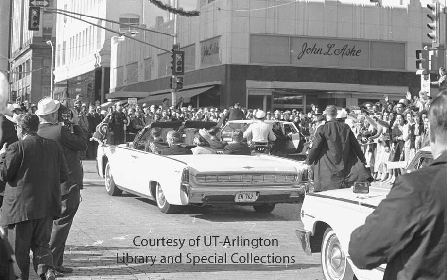 John F. Kennedy in motorcade through downtown Fort Worth, 11/22/1963 Photo: Fort Worth Star-Telegram Collection