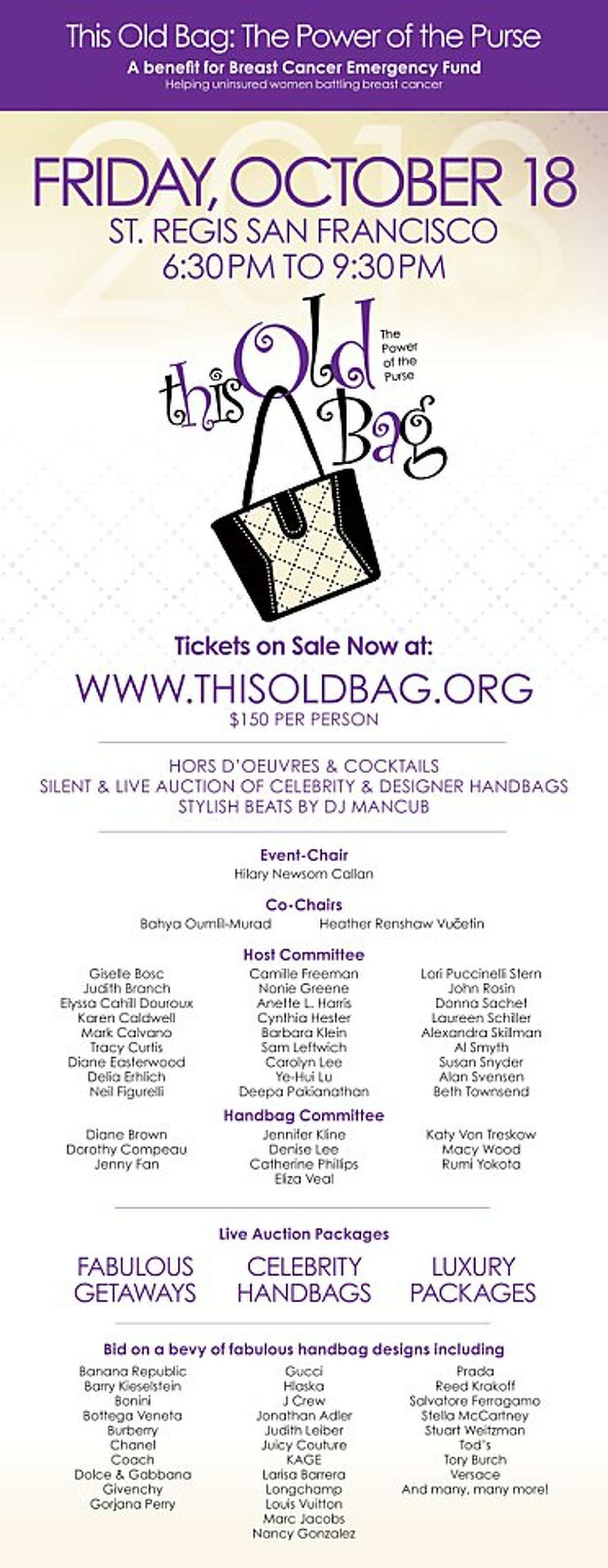 This Old Bag takes place Oct. 18 at the St. Regis Hotel.
