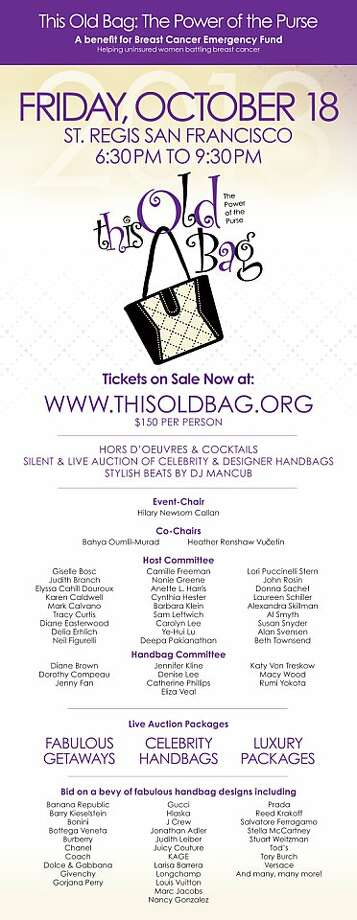 This Old Bag takes place Oct. 18 at the St. Regis Hotel. Photo: This Old Bag