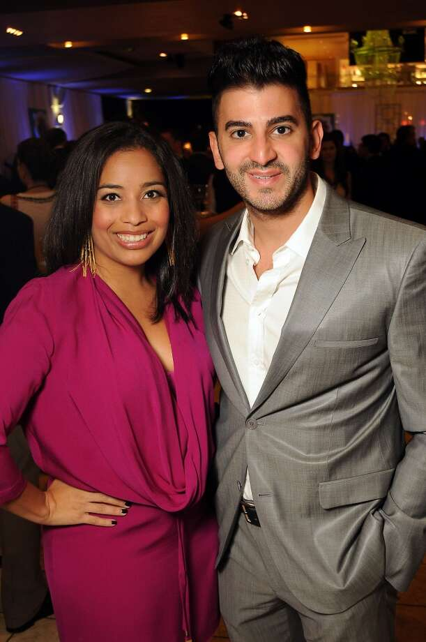 Jenny Harris and Colin Moussa at the Houston Ballet Ball Kick-Off party over the ice rink at the Galleria Tuesday Oct. 08,2013.(Dave Rossman photo) Photo: For The Houston Chronicle