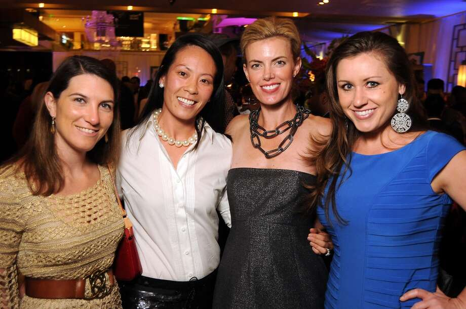 From left: Courtney Fretz, Ting Bresnahan, Katie Flaherty and Jo A. Simmons at the Houston Ballet Ball Kick-Off party over the ice rink at the Galleria Tuesday Oct. 08,2013.(Dave Rossman photo) Photo: For The Houston Chronicle