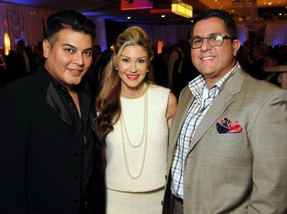 From left: Edward Sanchez, Patti Murphy and Dr. Roland Maldonado at the Houston Ballet Ball Kick-Off party over the ice rink at the Galleria Tuesday Oct. 08,2013.(Dave Rossman photo) Photo: For The Houston Chronicle