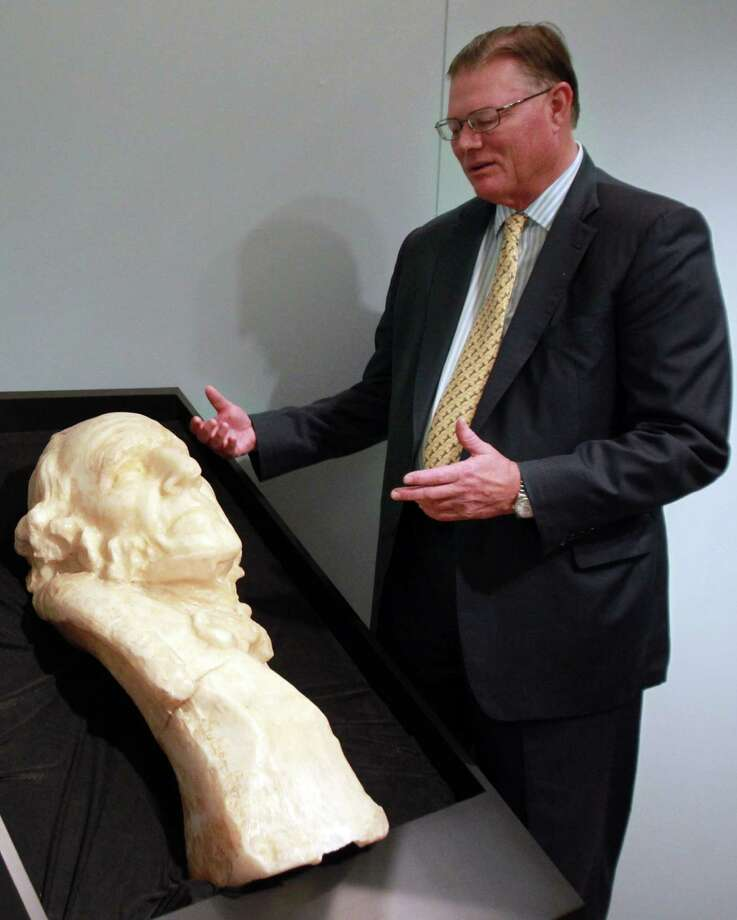 Robert B. Hixon, Chairman of the San Jacinto Museum of History, views the Sam Houston bust, ca. 1930 by Gutzon Borglum (March 25, 1867 - March 6, 1941), that is made of paraffin wax and wood as he walks through the San Jacinto Monument museum on Monday, Oct. 7, 2013, in Houston. Photo: Mayra Beltran, Houston Chronicle / © 2013 Houston Chronicle