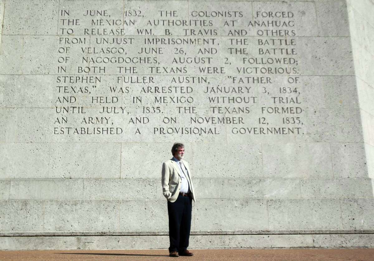 Larry Spasic, president of the San Jacinto Museum of History, stands in front of the San Jacinto Museum of History on Monday, Oct. 7, 2013, in Houston.