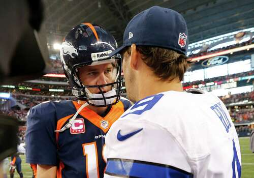 Denver Broncos quarterback Peyton Manning (18) shakes hands with Dallas Cowboys quarterback Tony Romo (8) after an NFL football game Sunday, Oct. 6, 2013, in Arlington, Texas. Denver won 51-48. (AP Photo/Sharon Ellman) Photo: Sharon Ellman, Associated Press / FR170032 AP