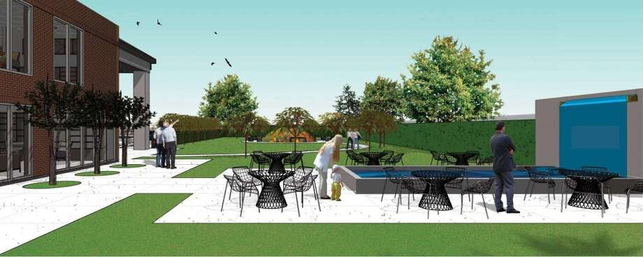 Plans call for an outdoor pavilion with walking paths and a garden. Photo: Gensler