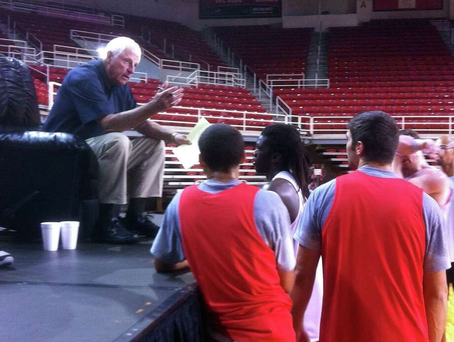 In a surprise visit, Bob Knight attended three Lamar basketball practices last weekend. Knight talked to players and mentored them on the sport. Photo taken October 06, 2013 Photo provided by James Dixon Photo: Photo Editor