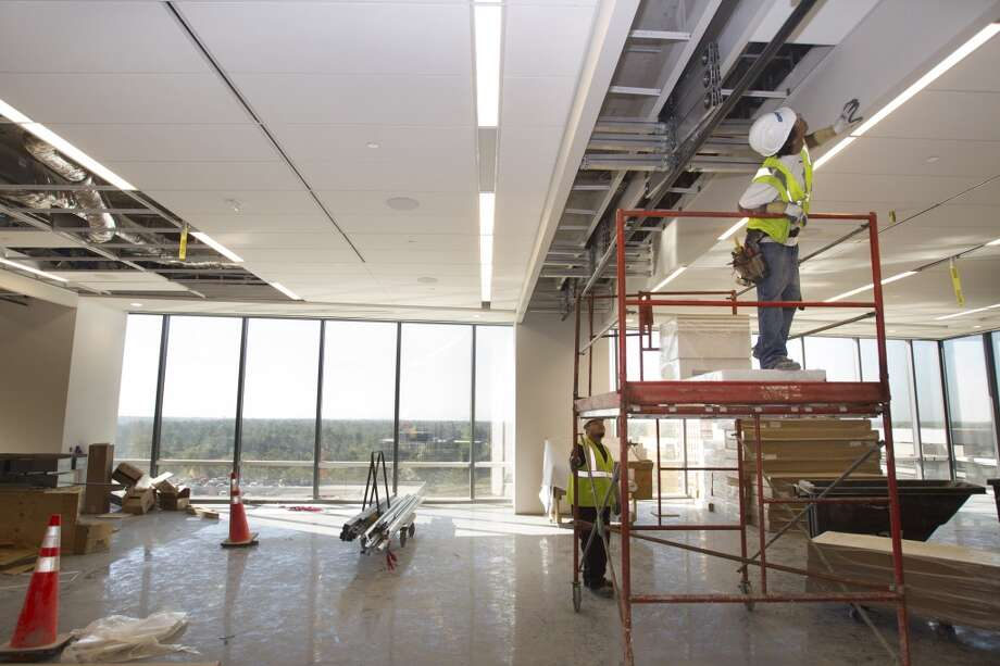 An open meeting room is under construction inside Anadarko's new Hackett Tower in The Woodlands. Photo: Brett Coomer, Houston Chronicle
