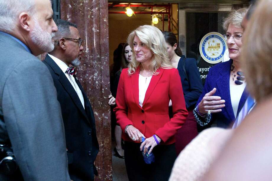 Gubernatorial candidate Sen. Wendy Davis, who spoke Wednesday at City Hall, wrote a bill this year that addressed the problems of rape kit backlogs. Photo: Johnny Hanson, Staff / Houston Chronicle