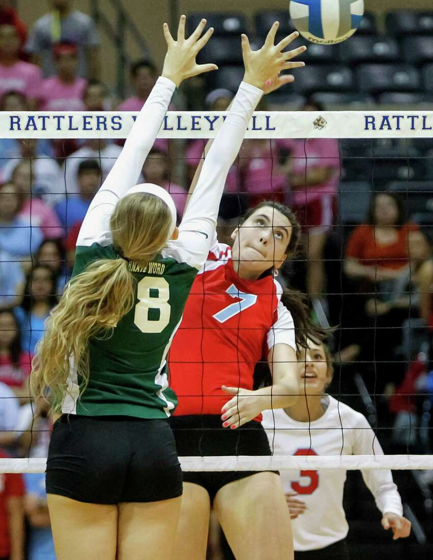 Antonian's Emilie Boren (center) tries to get a shot past Incarnate Word's Alyssa Narendorf as Emily Ramirez looks on during their match at Grehey Arena on Wednesday, Oct. 9, 2013. MARVIN PFEIFFER/ mpfeiffer@express-news.net