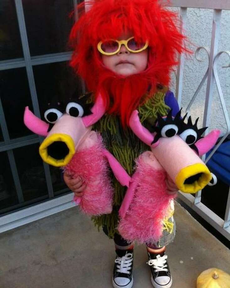 """MAHNA MAHNA (2012): Annie Stanner Cooper came through for her son Emmett, including two """"Snowths"""" puppets. Annie told us last year: ''Emmett would wear this costume every day if I let him, but unless he's holding The Snowths, he just looks like he should be dancing around at Burning Man.'' Photo: Courtesy Annie Stanner Cooper"""
