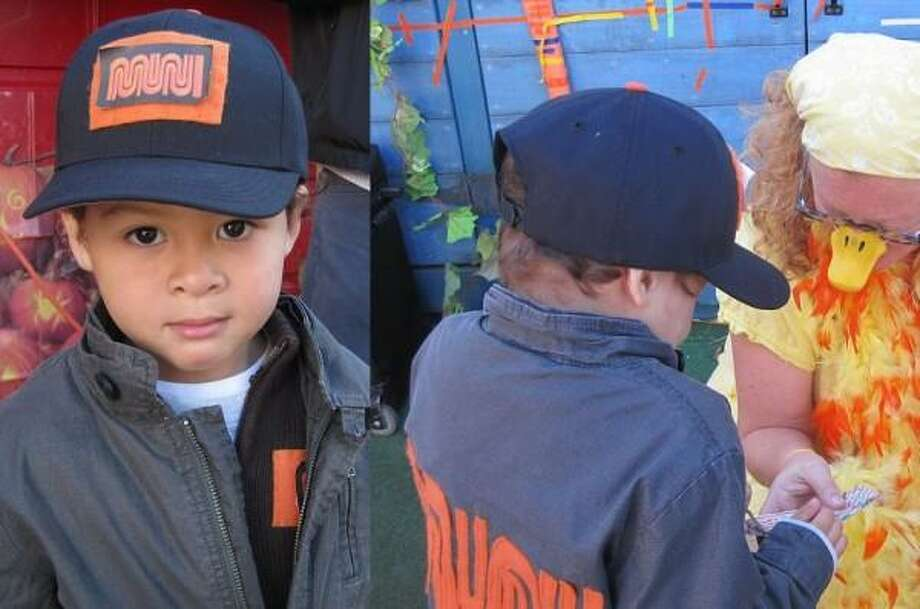 MUNI DRIVER (2012): Three-year-old Ben ended up being a subject of Mike Kepka's City Exposed series in the Chronicle, and got a tour that included a meeting with the head of Muni! His costume with a made-by-hand Muni worm logo included real bus transfers that he handed out to kids at school.