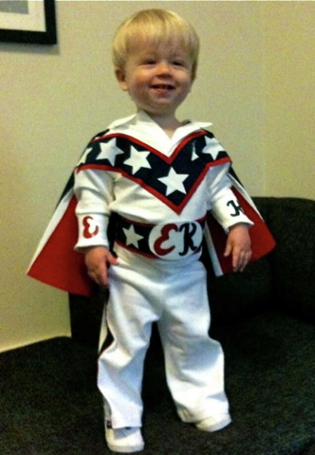 """EVEL KNIEVEL (2009): Oliver, memorable as Linus a year earlier, returns. Mom Hilary wrote: """"Now he likes to hurl himself off of anything higher than one foot off the ground with no regard for his own personal safety, so Evel Knievel seemed like an appropriate costume this year."""""""