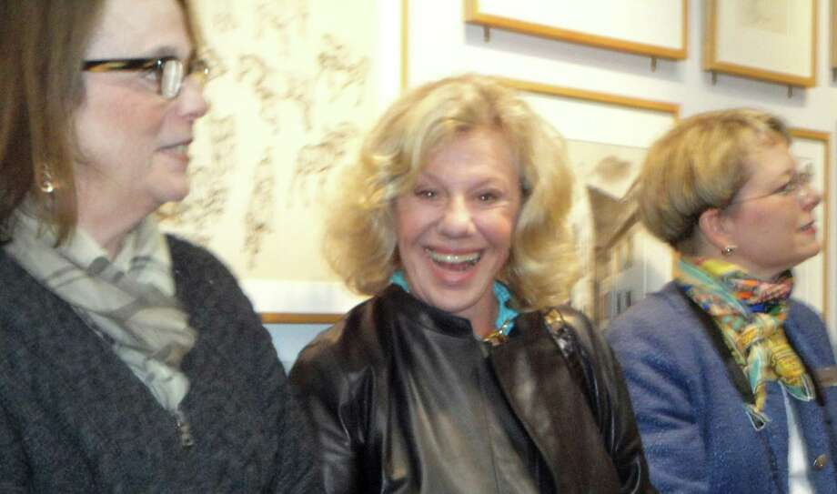 "Writer Erica Jong, center, spoke to a crowd of several hundred people at the Westport Library on Wednesday to mark the 40th anniversary of the publication of her novel, ""Fear of Flying."" WESTPORT NEWS, CT 10/9/13 Photo: Meg Barone / Westport News contributed"