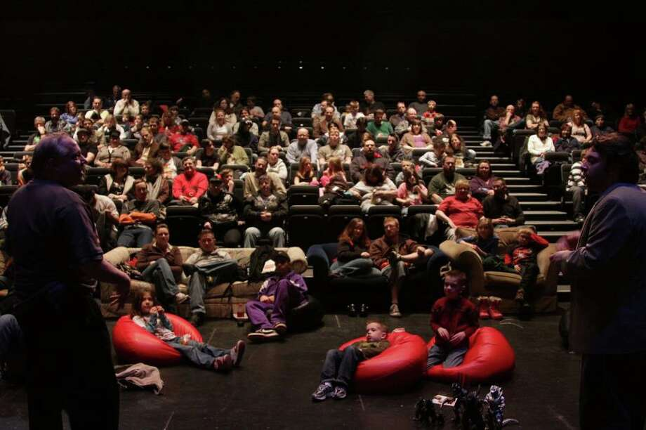 "Audience for It Came From Schenectady's annual ""Godzilla Kaiju Battle"" in the GE Theatre at Proctors."