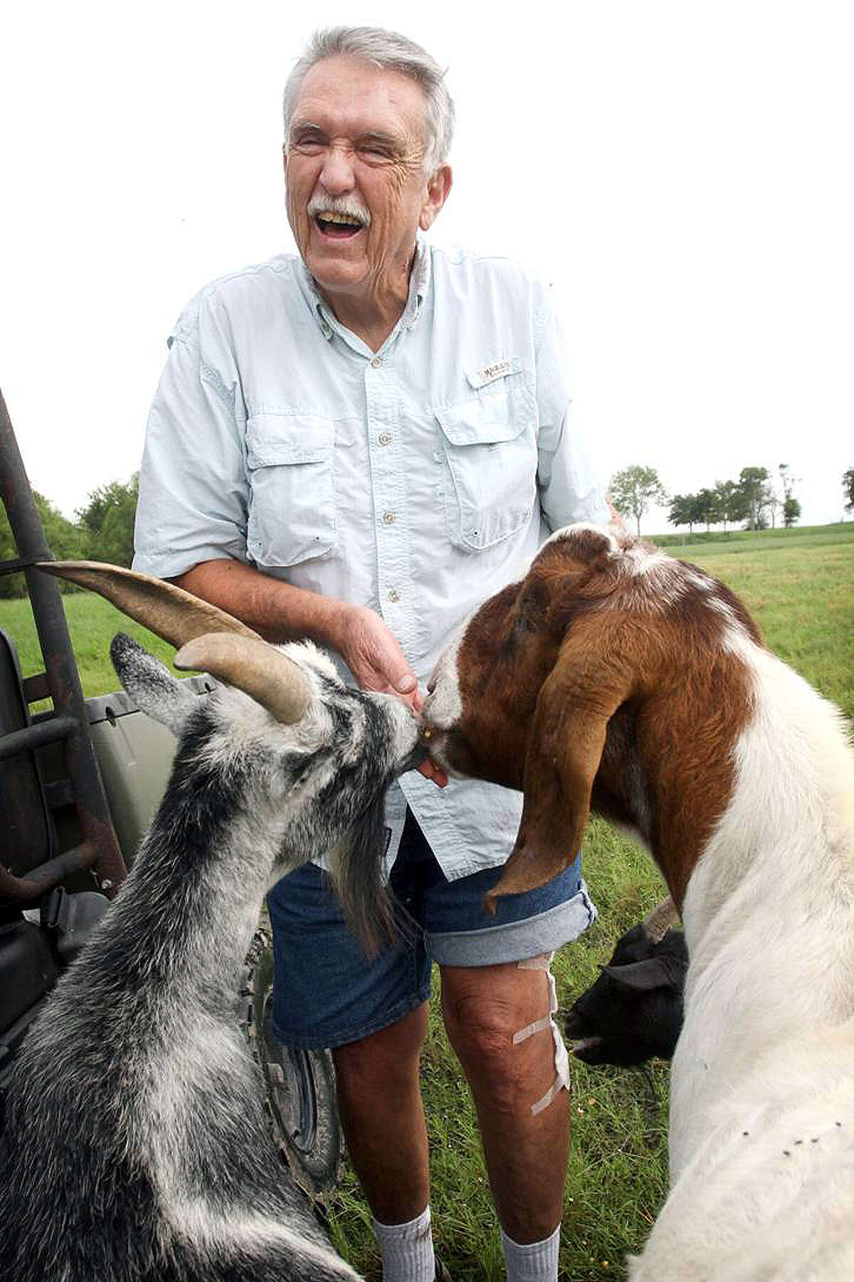 Warning: Photos in this story are graphic and disturbing examples of the mystery being investigated in Port Lavaca. Wayne Daggs feeds animals on his Port Lavaca farm. (Angeli Wright / Victoria Advocate )