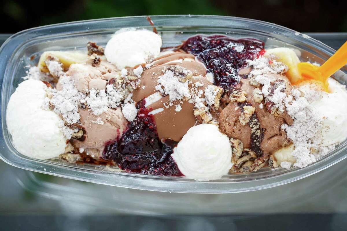 The C10 Banana Split at Chris Leung's Cloud 10 Creamery in Rice Village, Wednesday, Oct. 2, 2013, in Houston. ( Michael Paulsen / Houston Chronicle )