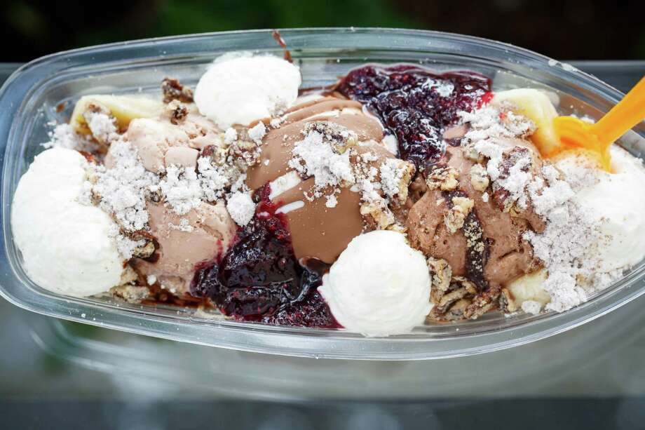 The C10 Banana Split at Chris Leung's Cloud 10 Creamery in Rice Village, Wednesday, Oct. 2, 2013, in Houston. ( Michael Paulsen / Houston Chronicle ) Photo: Michael Paulsen, Staff / © 2013 Houston Chronicle