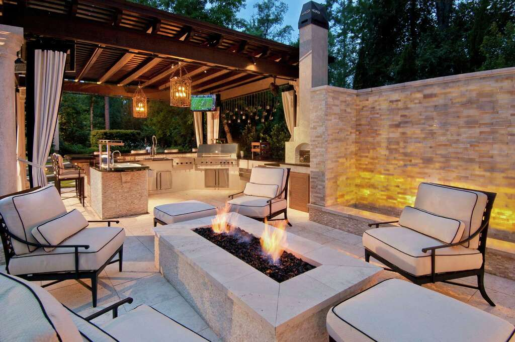 Adjacent To The Fire Pit, The Summer Kitchen At A Home In The Woodlands  Contains