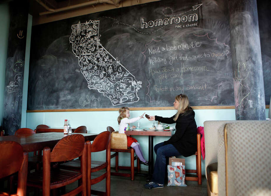 Rebecca Hazard (right) shares a cookie with her daughter Sasha Jarez, 3, in front of a painting of California on a chalkboard at Homeroom restaurant  on Wednesday, December 21, 2011 in Oakland, Calif. The painting of the state, by local artist Mellisa Garden, is filled with icons representing places in California. Photo: Beck Diefenbach, Special To The Chronicle / ONLINE_YES