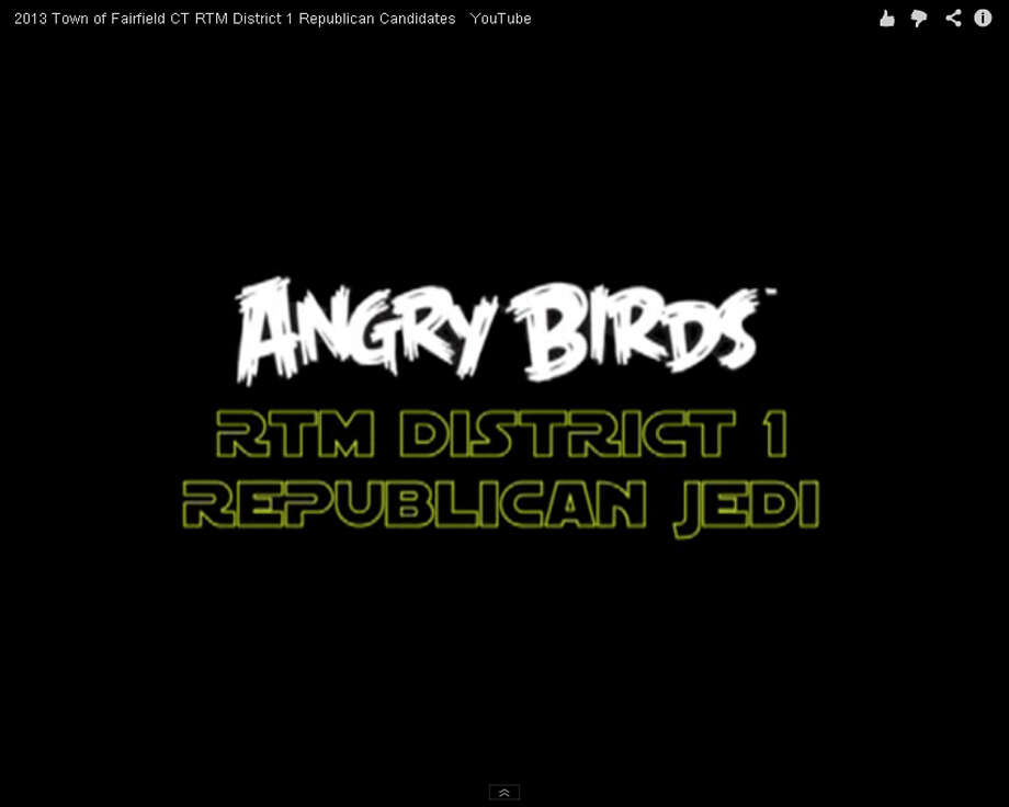 Republican Representative Town Meeting candidates from District 1 posted a YouTube video using images from the Angry Birds Star Wars computer game. Photo: Contributed Photo / Fairfield Citizen