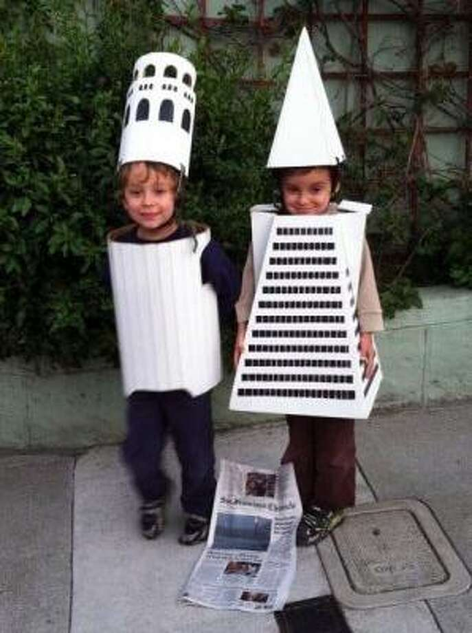 SF LANDMARKS (2011): We always support the use of regional landmarks in costumes. Twin brothers Solomon and Milo Sperry went old school with this. Will kids in 2050 dress as Rincon Tower? Photo: Courtesy Raphael Sperry And Laura Juran