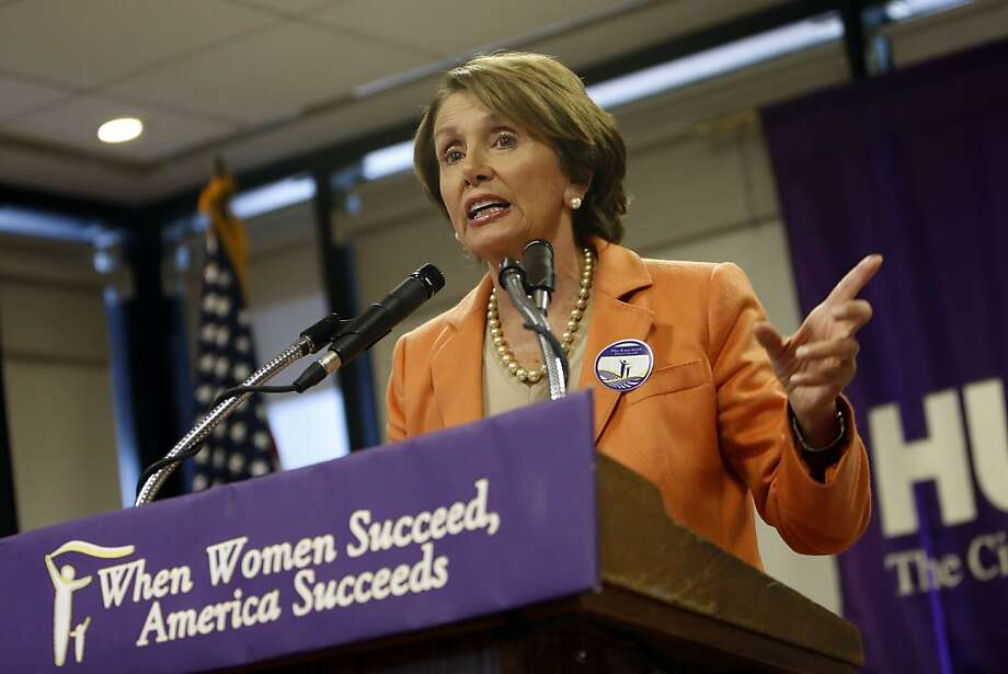 "House Minority Leader Nancy Pelosi, D-Calif., speaks during an event entitled ""When Women Succeed, America Succeeds"" at Hunter College, Friday, Oct. 4, 2013, in New York.  ""It's very hard to negotiate with the Republicans when they can't negotiate with themselves,"" Pelosi told CBS ""This Morning"" on Friday.   (AP Photo/Jason DeCrow) Photo: Jason DeCrow, Associated Press"