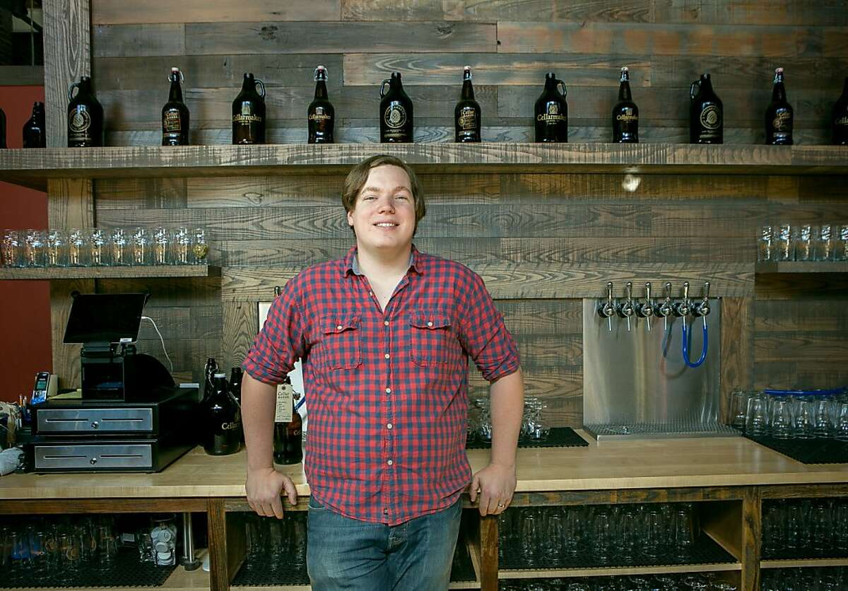 Brewer Connor Casey at his new brew pub, Cellarmaker Brewery in San Francisco, Calif., is seen on Friday, October 4th, 2013.
