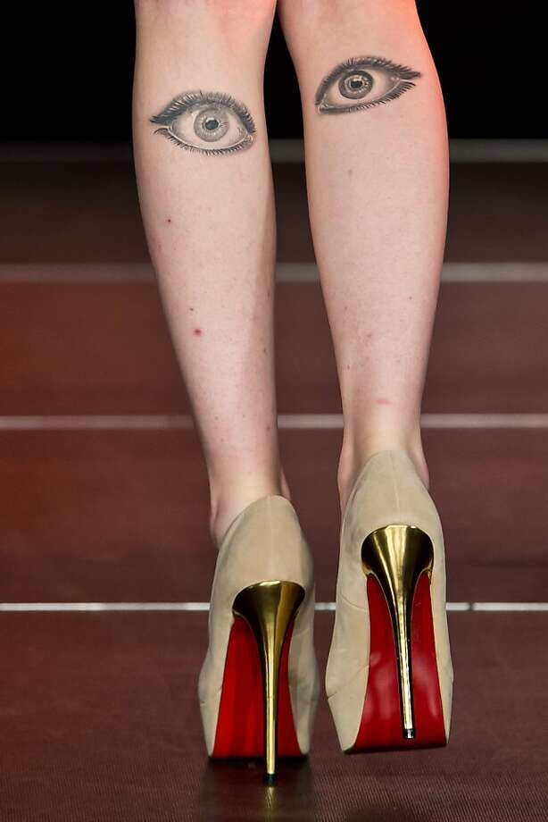 "If you stareat German model Stefanie's legs, they stare back. Stefanie was promoting the ""Haare 2013"" hairdressing exhibition and competition in Nuremberg. Photo: Daniel Karmann, AFP/Getty Images"