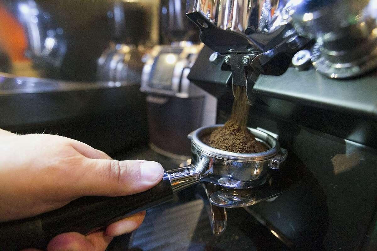 David Buehrer at work at Blacksmith Coffee Shop.